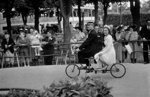 Bride on bicycle made for two