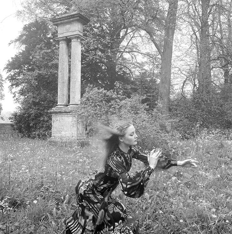 Ingrid Boulting wearing Tiger Lily dress by Biba at Lacock Abbey, British Vogue, July 1970. Photo: Norman Parkinson