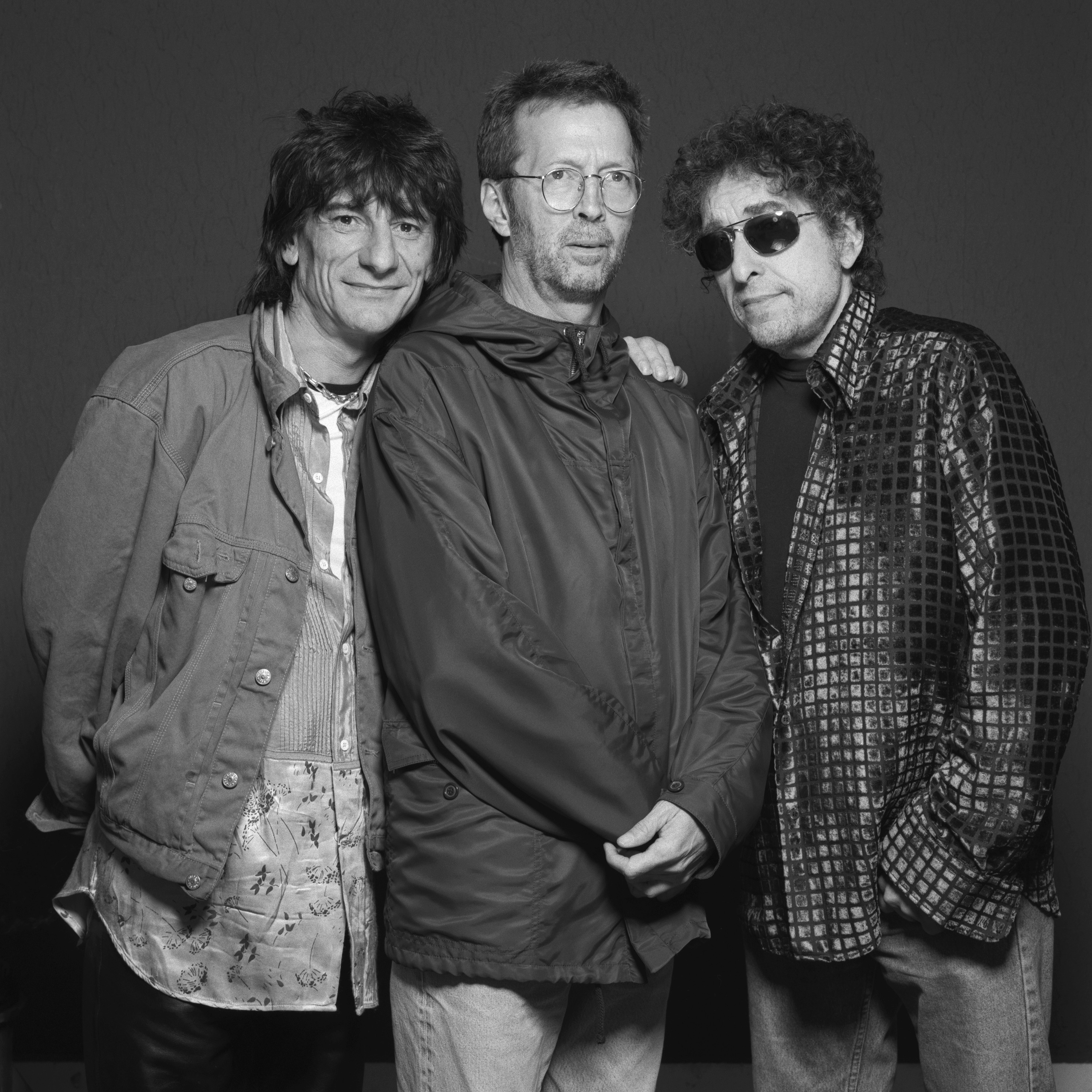 Ronnie Wood, Erica Clapton and Bob Dylan