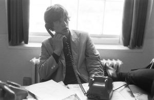 Mick on the phone