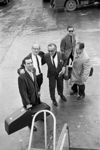 Benny Goodman and his band of musicians at O'Hare International Airport