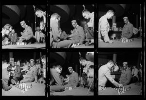 Dizzy Gillespie and Gene Lees play chess together